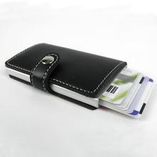 Antivol Hommes Portefeuilles Mince Mini RFID Portefeuille Automatique Carte De Visite Titulaire Aluminium Carte de Crédit Cas Protecteur KB0001