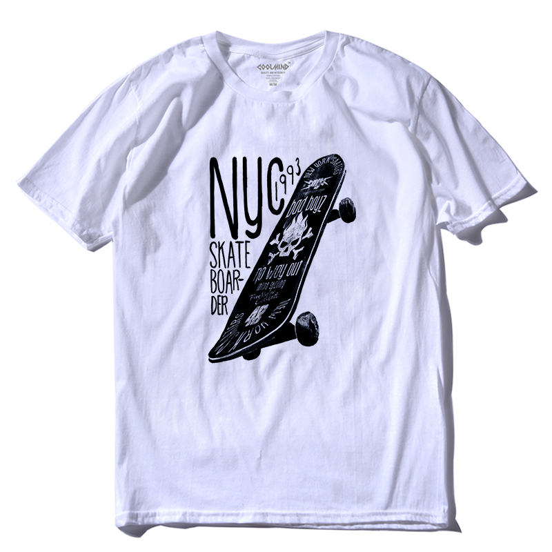 COOLMIND SK0116A 100% Cotton O-neck Skateboard Print Men T Shirt Casual Short Sleeve Tshirt Cool Summer Loose T-shirt Pthd