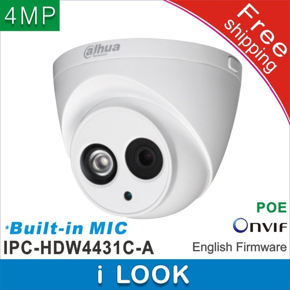 bilder für Freeshipping Dahua IPC-HDW4431C-A Eingebautem MIKROFON HD 4MP IR 30 mt netzwerk IP Kamera sicherheit Cctv-dome-kamera Unterstützung POE HDW4431C-A