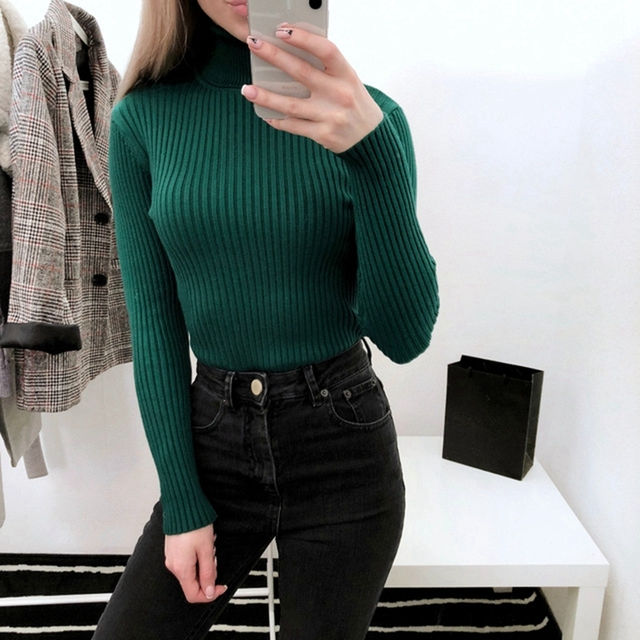 c49d6fd9d6 Autumn Winter Thick Sweater Women Knitted Ribbed Pullover Sweater Long  Sleeve Turtleneck Slim Jumper Soft Warm Pull Femme