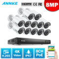 ANNKE 16CH 4K Ultra HD POE Network Video Security System 8MP H.265 NVR With 12X 8MP 30m EXIR Night Vision Weatherproof IP Camera