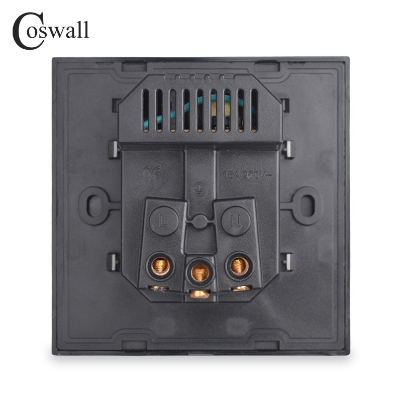 COSWALL Dual USB Charging Port 16A Wall EU Russia Socket Power Outlet Glass Panel PC Panel Matte Grey Color