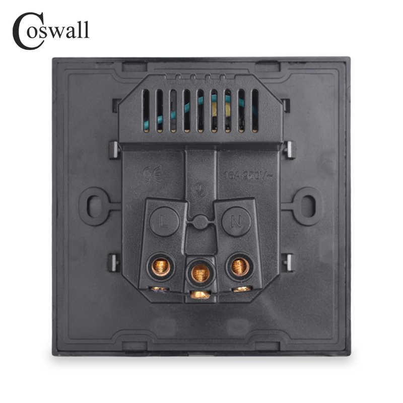 COSWALL 듀얼 USB 충전 포트 16A 벽 EU 러시아 소켓 전원 콘센트 유리 패널 PC 패널 매트 그레이 색상