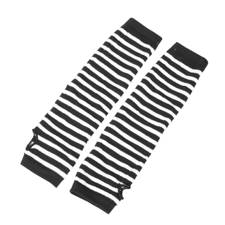 Best Pair White Black Stripes Acrylic Fingerless Arm Warmers Gloves for Women