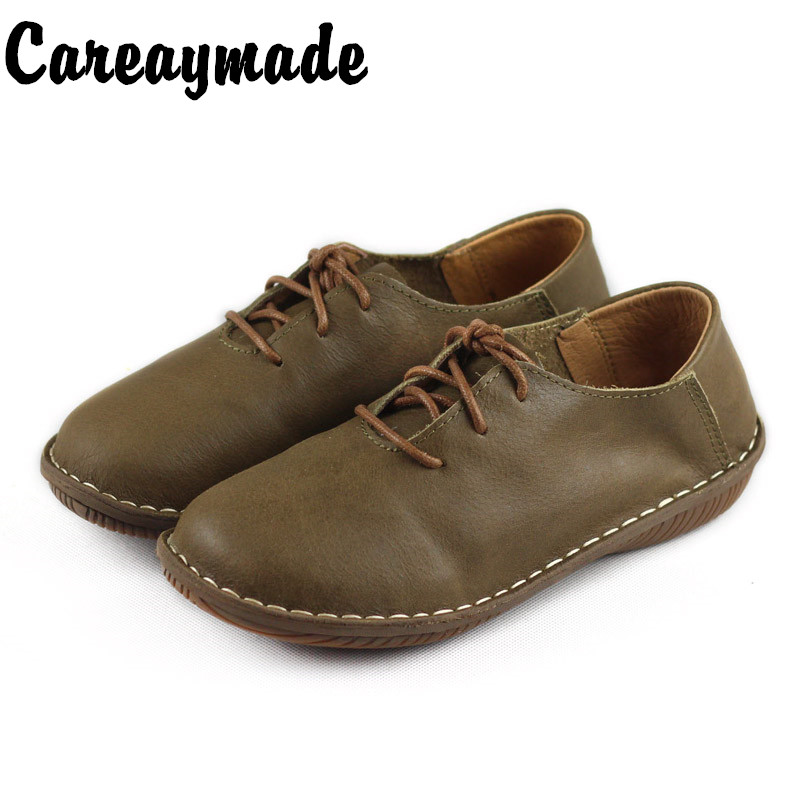 Careaymade-Pure hand-made top leather casual shoes women's retro literary arts flat heel single lace spring flat sole shoes