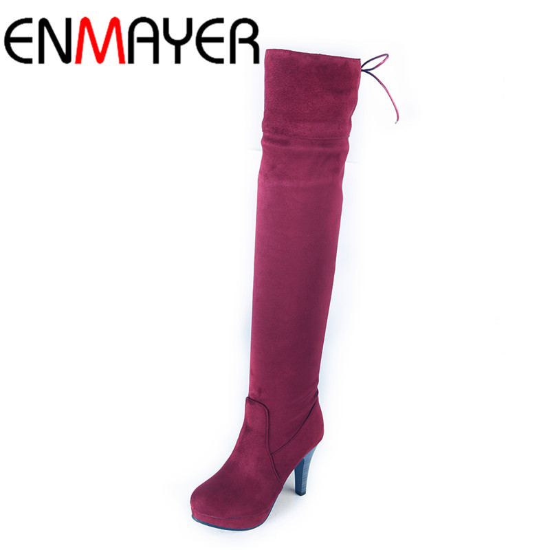 ENMAYER New Long Boots Shoes Woman Sexy Red Over-the-knee Boots for Women High Heels Round Toe Lace-up Platform Winter Boots enmayer over the knee boots shoes new pu knitting square heel high boots warm snow long boots red brown black knight boots