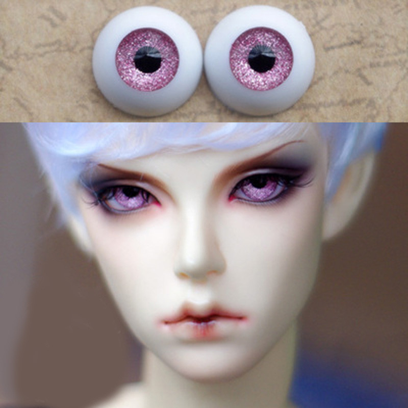 Metal pink Doll eyes Bjd Eyes for BJD Dolls toys sd eyeball 1/3 1/4 1/6 8mm 14mm 16mm 18mm 20mm Acrylic EYEs dolls