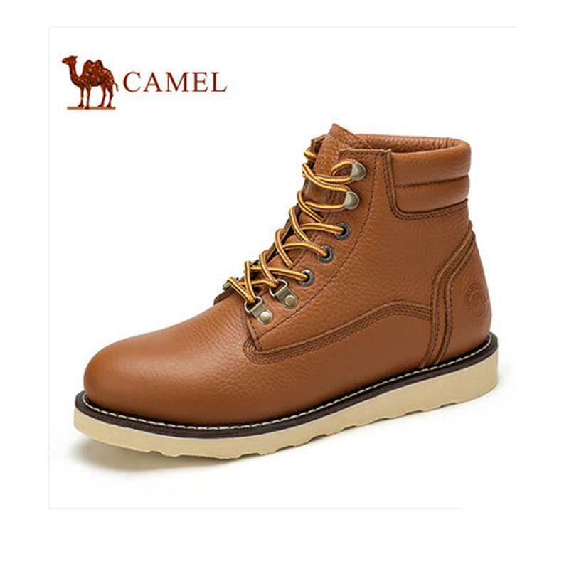 Camel boots 2015 men short work shoes cow leather lace up  boots male  A542129074