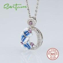 Серебряная бабочка эмаль кулон для колье для женщин белый кубический цирконий кулон серебро 925 ювелирные изделия