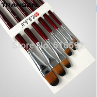 Two set promotion link, 6PCS Transon213 filbert head nylon artist brush set, red handle painting brush, oil brush