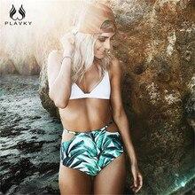 Sexy Tropical Palm Leaf High Waist Bikini 2019 Swimwear Women Swimsuit Female Cut Out Swim Bathing Suit Biquini Bathers Biquine