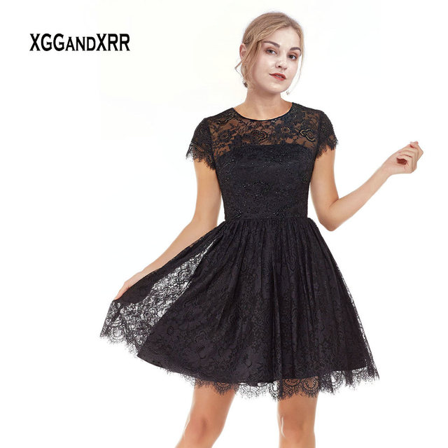 Elegant Lace Short Prom Dress 2019 Little Black Dress Keyhole Back Cap Sleeves O Neck Puffy Skirt Mini Party Gown Plus Size