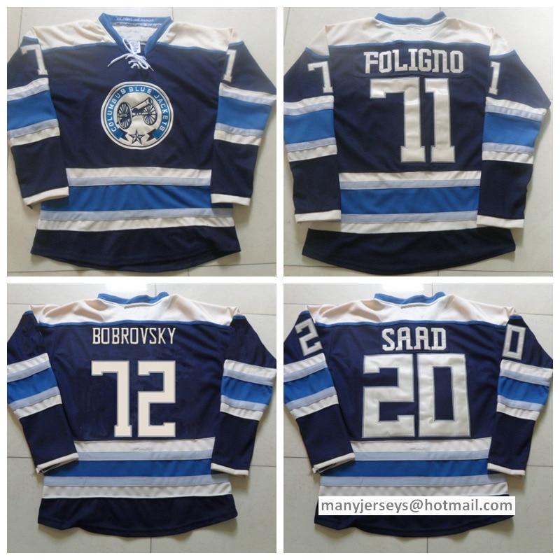 803253624 ... Jerseys 20 Brandon Saad 71 Nick Foligno 72 Sergei Bobrovsky Home Navy  Blue Team Color High 2017 2016 Best Stitched 72 Sergei Bobrovsky Jersey ...