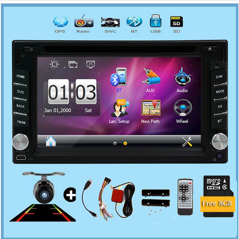 Camera New 6.2inch 2din car audio Wince GPS Navigation Bluetooth car dvd player in dash FM AM RDS USB car radio Aux multimedia 5 resistive screen wince 6 0 gps navigator w fm transmitter tf 4gb brazil map black red