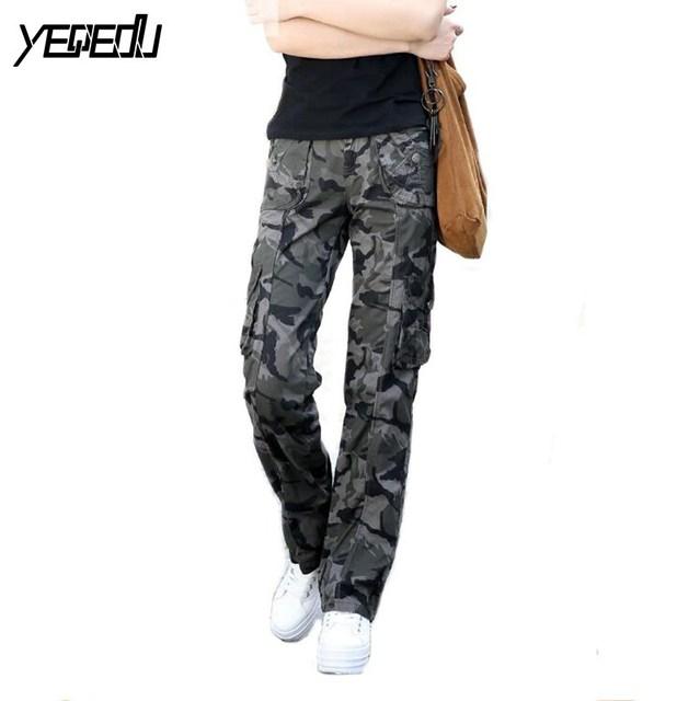 #0908 primavera verão 2017 mulheres calças de camuflagem militar hip hop calças mulheres casuais moda feminina largas calças cargo mulheres