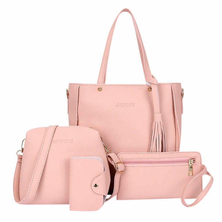 Femmes sacs à main ensemble nouvelle mode quatre pièces sac à bandoulière couleur unie doux sac de messager portefeuille sac à main sacs de messager femme