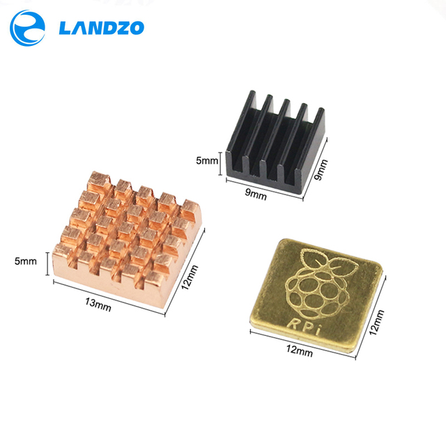 Raspberry Pi 3 Model B Heat Sink 1 Aluminum + 2 Copper with Logo Cooling Pad disipador Heatsink for Raspberry Pi 2 3 3b+