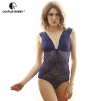 New Transparent Lace Sexy Hollow Vest Deep V Teddy Europe Thin Bra Sets Women Sexy Lingerie