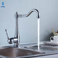ULGKSD Brass Kitchen Sink Faucet Multi Color Handle Faucet 360 Rotate Deck Mounted Faucet Hot And