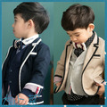 Boys Korean Autumn Coat Child Long Sleeved Jacket Wind Gentleman Kids Cotton Clothing Dark Blue Khaki