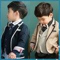Meninos Casaco de Outono Coreano Jaqueta Vento Cavalheiro Crianças Roupas de Algodão Criança de Manga Comprida Azul Escuro Cáqui