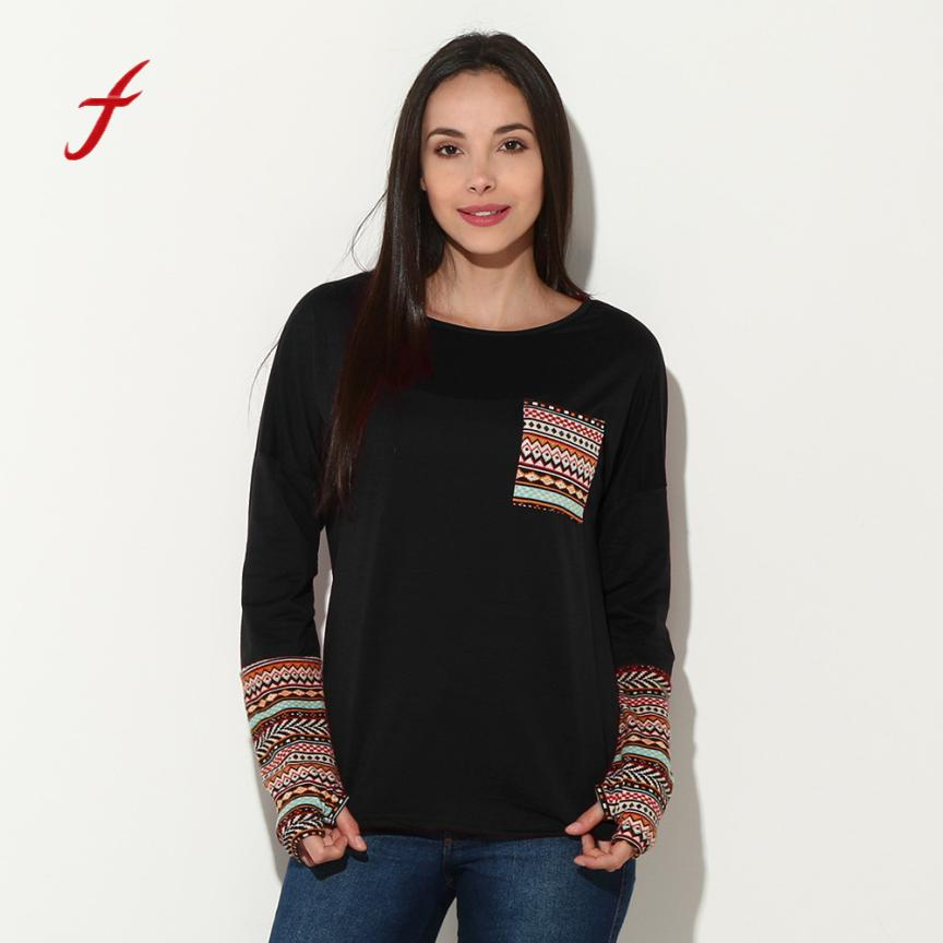 Feitong Womens Patchwork Splice Casual Loose Pullover -4488