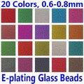 100g por pacote Caviar Prego 20 Cores Metálicas E-chapeamento de Contas De Vidro Micro Glitter Minúsculo prego Círculo de Arte 3D decoração Manicure 0.6-0.8mm