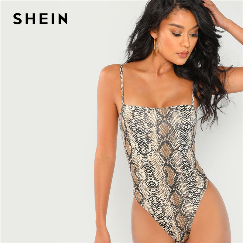 SHEIN Multicolor Snake Skin Print Cami Bodysuit Casual Spaghetti Strap Sleeveless Animal Print Women Autumn Elegant Bodysuits