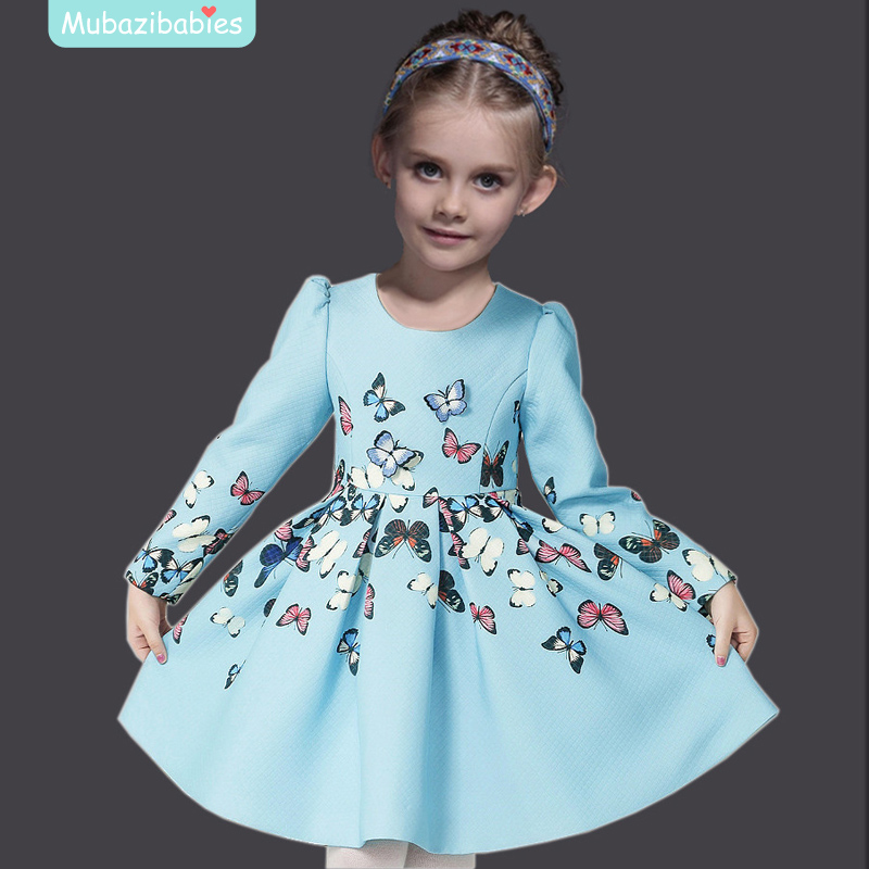 Butterfly Autumn Winter Teenage Girls Clothing Long Sleeve Cotton Party Dresses Wedding Dress Girls Cinderella Princess Dress chouchouchic winter children clothing girls dress party wear cotton short sleeve chinese style winter qipao red forest