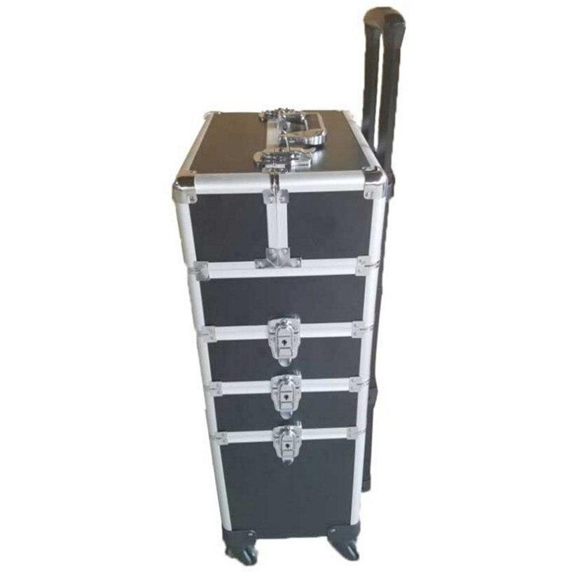 Marca telaio In Alluminio 4 in 1 Trolley Case con ruote Scatola di Trucco di Bellezza professionale di trucco Valigia trucco Nuovo Ruote Universali