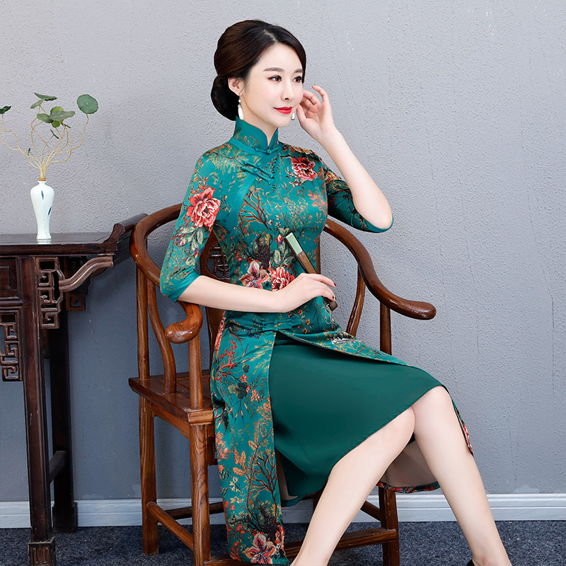 2019 2 4 D'été style Bouton Femmes 6 Dai Cheongsam Style Robe Longueur Rayonne 1 Qipao Mince style style Chinois Ao style Vintage Genou Robes style Sexy 5 3 Partie orxWdeBC