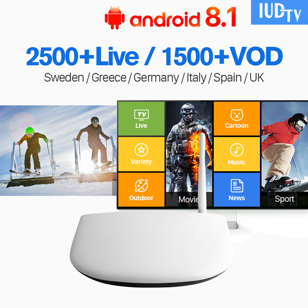 IPTV Europe Subscription 1 Year IUDTV Code Android 8.1 TV Box Smart IPTV Europe Sweden Italy Spain Denmark IPTV Top Box