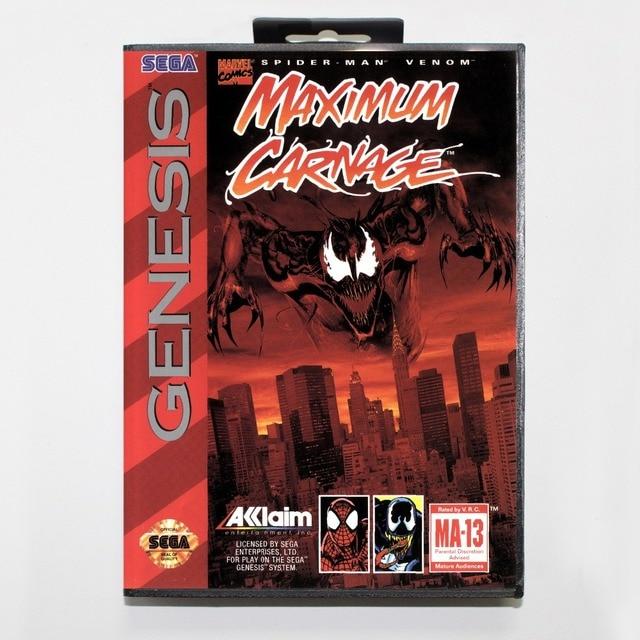 Spider Man And Venom Maximum Carnage 16 Bit Md Card With Retail Box