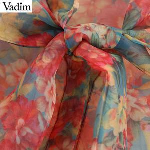 Image 3 - Vadim Женская Сексуальная Цветочная Органическая блузка прозрачный стиль галстук бабочка с длинным рукавом женские прозрачные шикарные топы blusas LB311