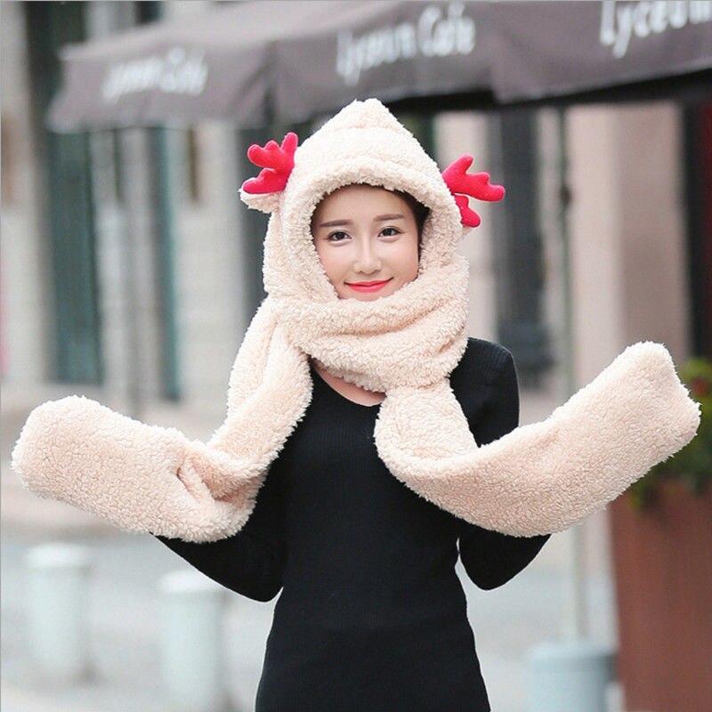 Warm Winter Hats For Women Cartoon Deer Hood Snowflake Scarf Hat Gloves Set Ladies Girls Caps Winter Hat Christmas Gifts 2018