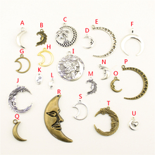 20Pcs Wholesale Bulk Jewelry Findings Components Moon Face Diy Accessories For Female HK199