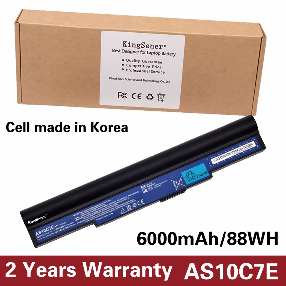 KingSener Korea Cell New AS10C7E Laptop Battery for Acer Aspire 5943 5943G 8943G 8950G 5950G 14.8V 6000mAh AS10C5E AS10C7E original new al12b32 laptop battery for acer aspire one 725 756 v5 171 b113 b113m al12x32 al12a31 al12b31 al12b32 2500mah