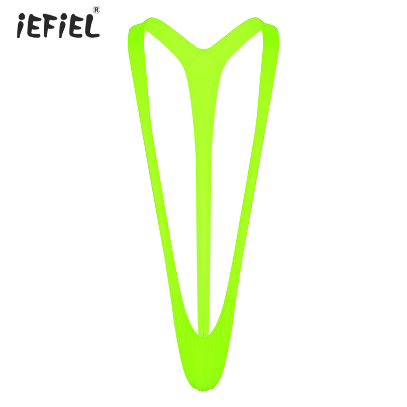 Iefiel Exotic Apparel Swimsuit Thong Mankini Men Lingerie Body Sexy Stretchy Borat Beachwear