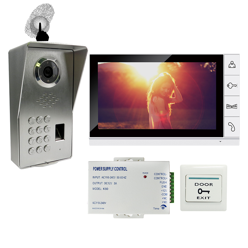 FREE SHIPPING NEW 9 Screen Video Door Phone Doorbell Intercom System + Waterproof Fingerprint Code Keypad Access Door Camera автокресло britax roemer детское автокресло discovery sl группа 2 3 от 15 до 36 кг flame red