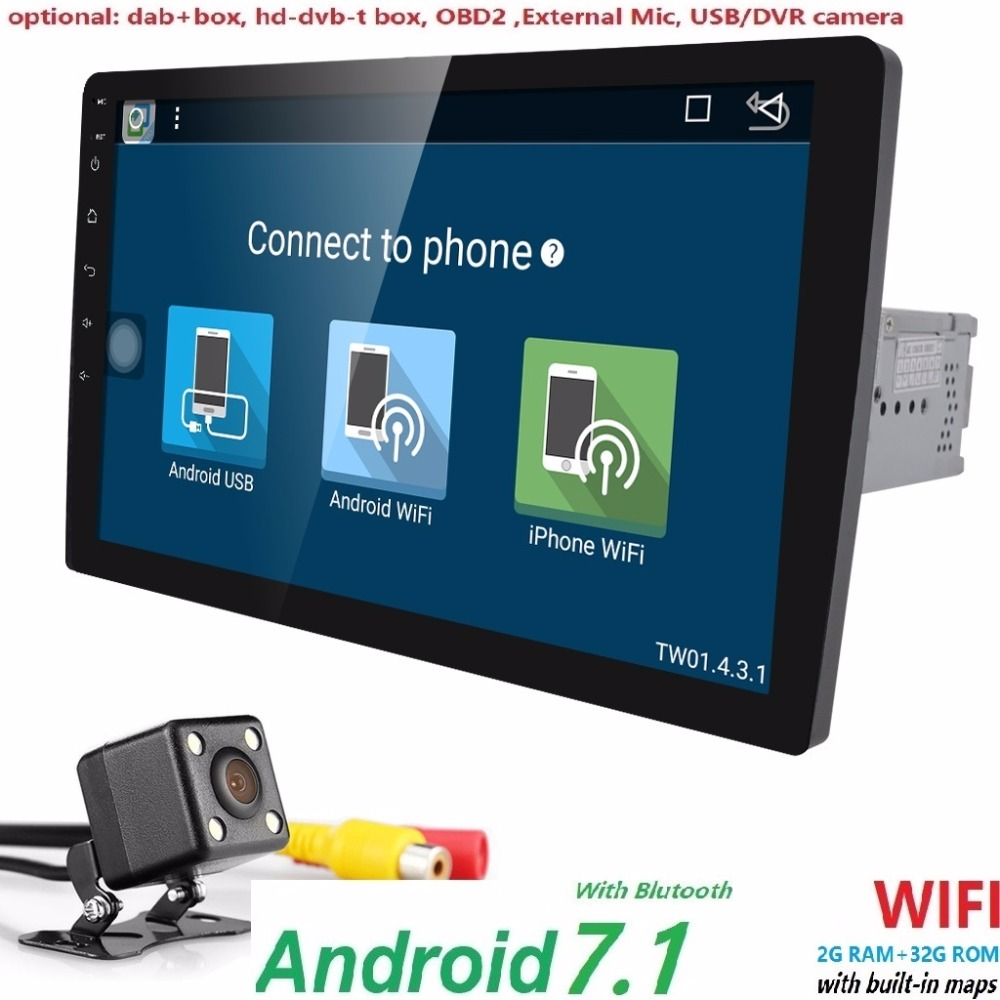 2din 10.1 inch Android7.1 Wifi Car radio GPS Navigation Car Stereo Radio Car GPS Bluetooth USB/SD Universal Player 2G+32G CAM