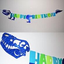 Chlapec narozeninové party Modrý třpyt Jiskřivý dinosaurus Šťastný narozeninový banner T-Rex Bažant Garland Baby Shower Backdrop Decor