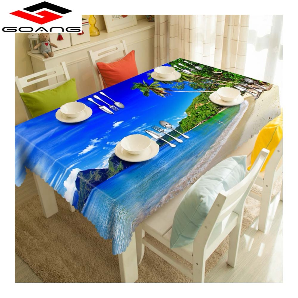 GOANG  Table Cloth Waterproof Thicken Cotton Tablecloth Sea Scenery Dustproof Rectangular Round Dining Table Cover Home Decor