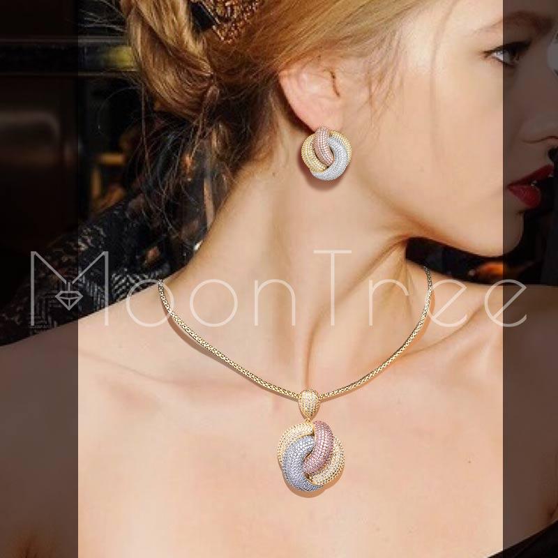 MoonTree Mode Twist De Luxe housse de coussin Géométrie zircone cubique Femmes Bracelet Collier Boucle D'oreille robe européenne parure de bijoux
