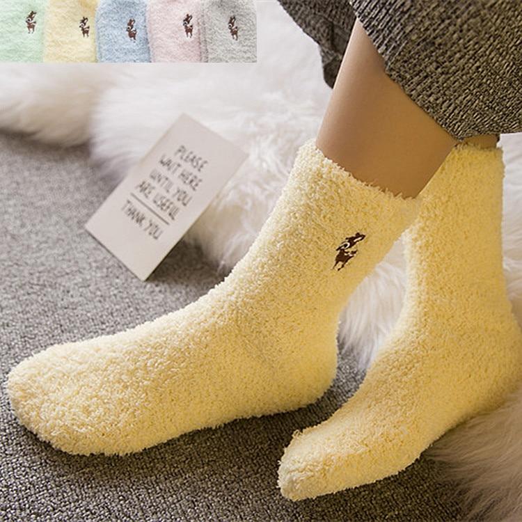 Winter socks wholesale cartoon animal embroidery half-cashmere women's socks plus velvet thick coral cashmere socks home