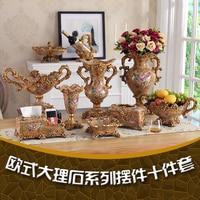 European Luxury Jewelry Vase Set Home Furnishing Room Marbleizing Atissue Box Ashtray Fruit Ornaments