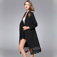 Solid Color Turn Down Collar Female Long Coat Black Red Lace Spliced Winter Jacket Long Sleeve