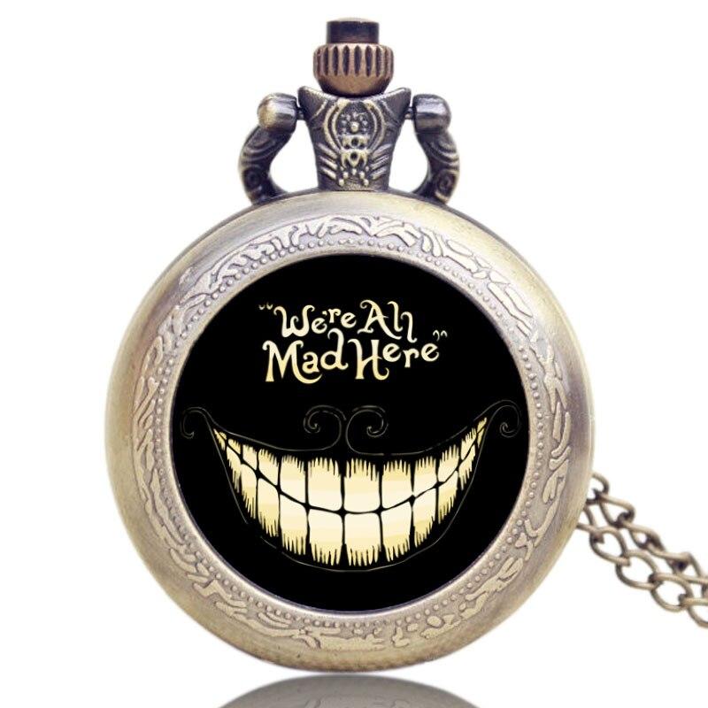 Alice In Wonderland Theme We Are Mad Here Design Black Smile Case Pocket Watch Antique Style Necklace Pendant толстовка с капюшоном худи adidas community hoody taekwondo серо черная l adichtkd