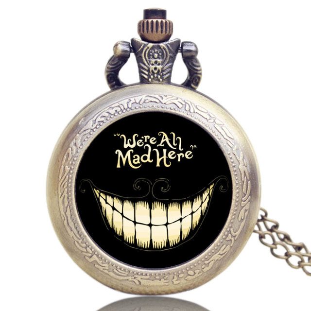 Alice In Wonderland We Are Mad Here Pattern Black Smile Case Pocket Watch Antiqu