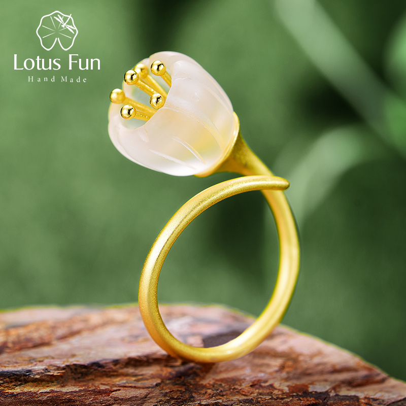 Lotus Fun Real 925 Sterling Silver Natural Crystal Handmade Designer Fine Jewelry Delicate Fresh Flower Rings For Women Bijoux