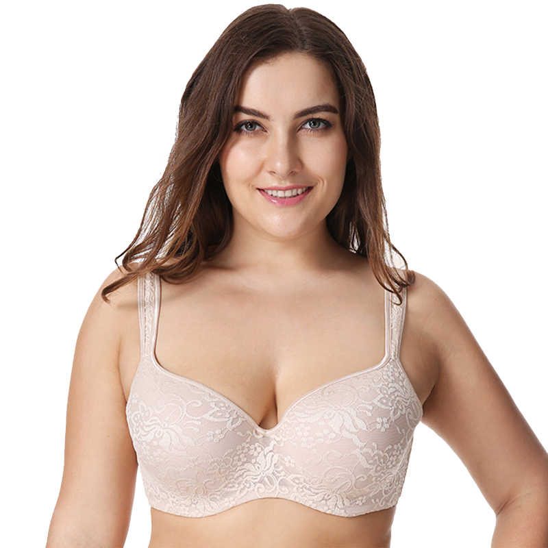 Women's Lace Floral Embroideried Underwire Plus Size Full Coverage Balconette Bra Wide Straps Lingerie for Woman